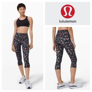 """Lululemon Fast and Free Crop II 19"""" High Rise Legging Activate Floral Multi 2"""